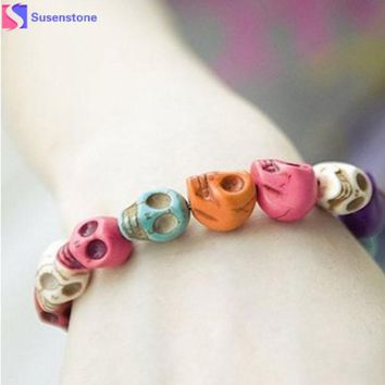 Exquisite  Color Gem Skull Tibet Buddhist Prayer Beads Bangles Mala Bracelet