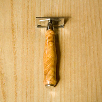 Custom Men's Double Edge Safety Razor with a Figured Ash Wood handle