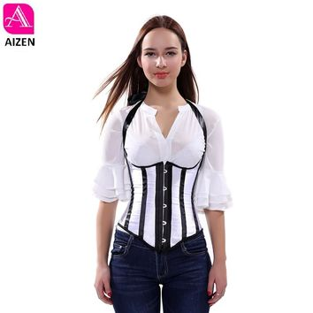 AIZNE ladies sexy black and white striped halter corset and bustier tops overbust corset plus size underbust corset vest 6xl