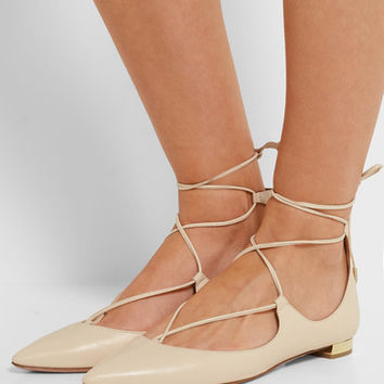 Aquazzura - Christy leather point-toe flats