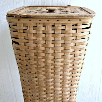Vintage 1980s Longaberger Laundry Hamper Basket, Handwoven Basket, Leather Hinge Top, Dresden Ohio Collectible Basket Tall Laundry Basket