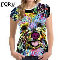 FORUDESIGNS best friends female t shirts 2017 hot sale women summer short shirts Yorkshire Bull Terrier printing tshirt top tee