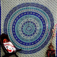 Blue Elephant Mandala Tapestry , Indian Hippie Wall Hanging , Bohemian Queen Wall Hanging, Bedspread Beach Coverlet Throw Decor Art