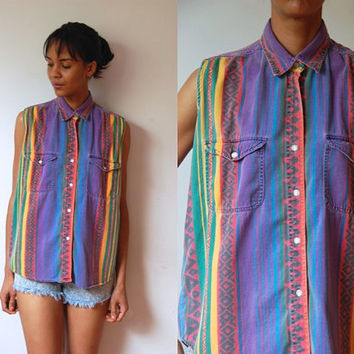Vtg Tribal Mix Stripes Sleeveless Button Down Cotton Shirt