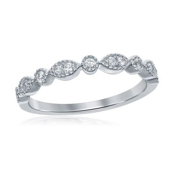 14kt White Gold Women's Round Diamond Milgrain Stackable Band Ring 1/6 Cttw