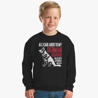 All I Care About Is My German Shepherd And Coffee Kids Sweatshirt