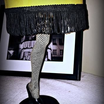 Sexy stocking leg tea light candle holder with yellow and fringe candlelight shade RAR