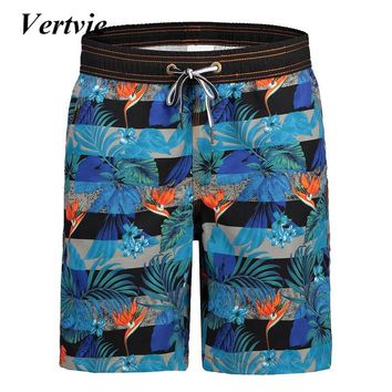 Vertvie Men Beach Shorts Drawstring Shorts 2018 Trunks High Elastic Short Printed Shorts Male Compression Male Short Boardshort