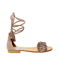 Fringe Flat Sandals in Suede | Steve Madden SWEETYY