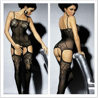 Women Sexy Lace Open Crotch Bodystocking Stripper Wear Bodies Sexy Lingerie Hot  Free Size (Color: Black)