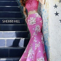 Long Two Piece Print Gown by Sherri Hill