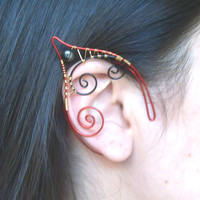 Red, Black & Gold Plated Handmade Wire Wrapped Hematite Elf Ear Cuffs, Wire Weave, Pixie Ears, Elven, LARP, Fantasy Wedding Jewellery
