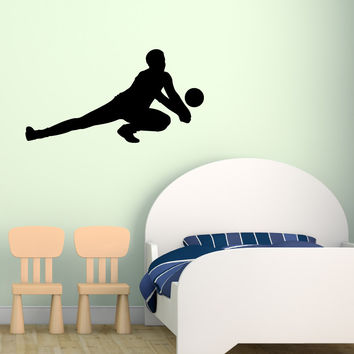 Volleyball Wall Sticker Decal - Male Defense Player Blocking Silhouette Decoration - #8