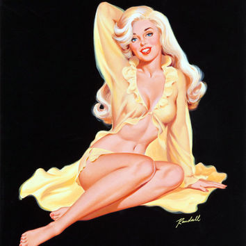 Pin-Up Girl Wall Decal Poster Sticker - Blonde Pin-Up in Lingerie - Pinup Pin Up