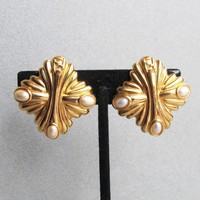 Signed Authentic FENDI Gold Plated & Faux Pearl Maltese Etruscan Cross Vintage Earrings