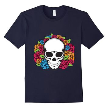 Floral Pattern Skull With Flowers T-Shirt