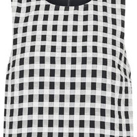 Textured Gingham Shell Top - Monochrome