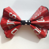 Red Ohio State Duct Tape and Fabric Hair Bow