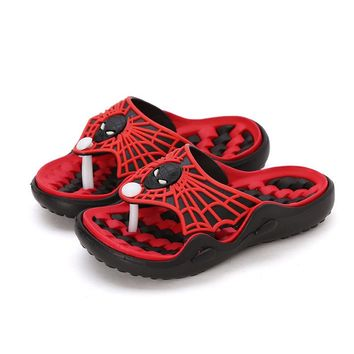 New Spiderman Children Sandals Boy's Girl's Flip Flops Pool Shoes Non-Slip Flat Beach Slipper (Baby/Little Kid/Big Kid/Teenager)