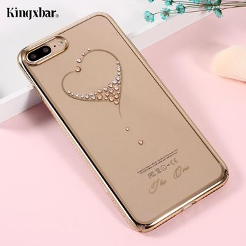 KINGXBAR Capa for iPhone 7 8 Plus Cover Crystals From Swarovski PC Hard Diamond Case for iPhone 8 Plus Case iPhone8 Phone Coque