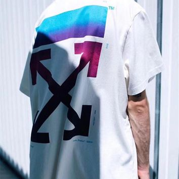 OFF-WHITE Tide brand men and women fashion wild loose paragraph rainbow gradient round neck half sleeve T-shirt white