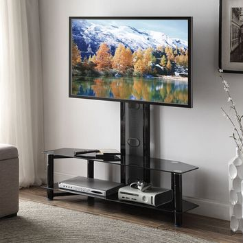 Acme 91715 Taijo collection modern styled black metal tv stand with glass shelves and tv mount