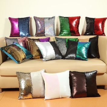 Size 40*40cm DIY Mermaid Sequin Cushion Magical Pillowcase Color Changing Reversible Pillowcase Decorative Pillows Home Textile