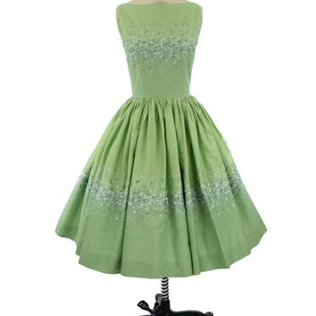 50s 60s Green Floral Embroidered Full Skirt Midi Dress-S