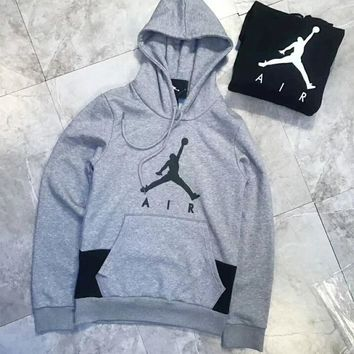 Nike Jordan Fashion Print Sport Casual Pullover Top Hoodie Sweater Grey I-A-XYCL
