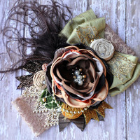 Autumn Royal boutique couture headband-beautiful natural colors-fall wedding- photo prop-Thanksgiving- Autumn celebrations-Newborn to Adult