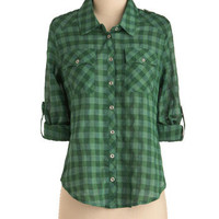 Acoustic Idol Top in Grass | Mod Retro Vintage Long Sleeve Shirts | ModCloth.com