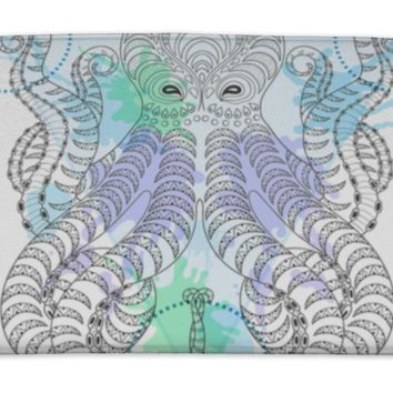 Bath Mat, Tattoo Octopus Zentangle Stylized Hand Drawn Tribal Octopus In Watercolor Frame