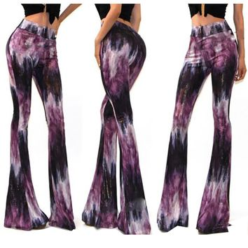 New Pants Trousers 2016 Summer Women Colorful Print Full Length Flare Pants Vintage Retro Ladies Pant