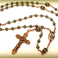 Catholic Rosary -Dark Green Swarovski Pearls in Antique Copper