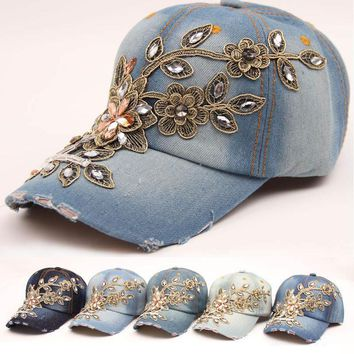 New leaves rattan flower of zircon intersperse baseball cap women snapback hip hop caps water wash  jean retro travel casual hat