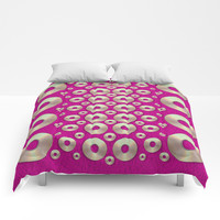 Going gold or metal on fern pop art Comforters by Pepita Selles