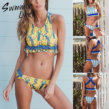 Floral print two-piece suit Pleated ruffle swimwear Sexy girls swimsuit push up bathing suit summer bathers Micro bikini 2018 XL