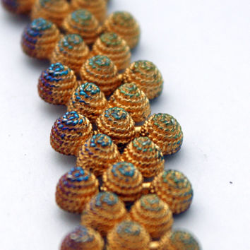Vintage Gold Tone Bee Hive Necklace, Vitrail Effect