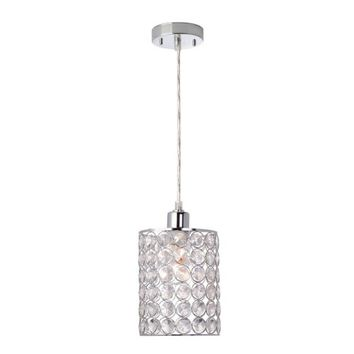 "Globe Electric 65012 1 Light 7"" Wide Pendant with Chrome and Crystal Cylinder Shade 
