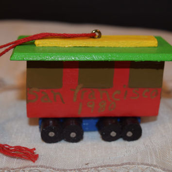 Handmade Cable Car Ornament Vintage Wooden San Francisco Cable Car Christmas Tree Decoration Dated 1980 Christmas Collectible Hand Painted