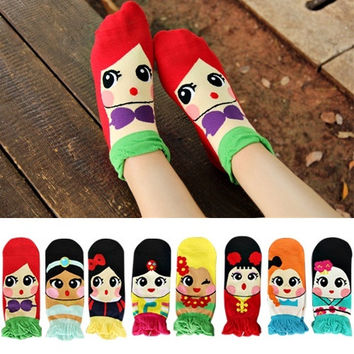 Korean Women's Princess Girls Cute Cartoon Cotton Ankle Socks Low Cut Socks = 1929695364