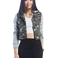 Cropped Camo Hooded Bomber | Wet Seal