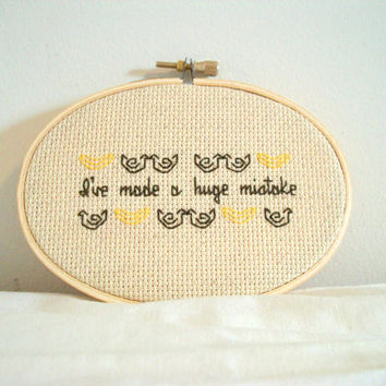Banana Stand cross stitch -- inspired funny, simple cross stitch, minimalist with lots of bananas