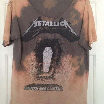Grunge, super soft tie dyed bleached Metallica shirt, soft grunge