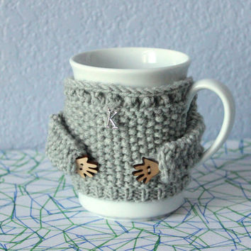 Knit mug cozy. Coffee cup cozy. Mug sweater. Letter charm. Gray merino wool. Handmade mug sleeve. Mother's day gift. Bridal shower. Office