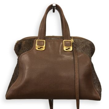 Fendi Brown Tote with Pony Hair