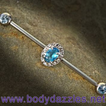 Aqua Rhinestone Oval Industrial Barbell 14ga Surgical Steel Scaffold Bar Body Jewelry