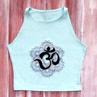 Om Crop Top-Mint Yoga Top-Yoga Crop Top-American Apparel