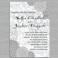 Printable Black & White Floral Peony Wedding Invitation - Personalized with 24 hour turn-around time. Choose your size 5x7 or 4x6