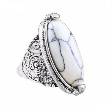 Only $1 Limit 1 Per Customer, Flower Tail Oval Natural Stone Bead With Vintage Antique Style Silver Plated Ring In 5 Colors